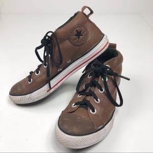 Converse Brown Leather Hightops